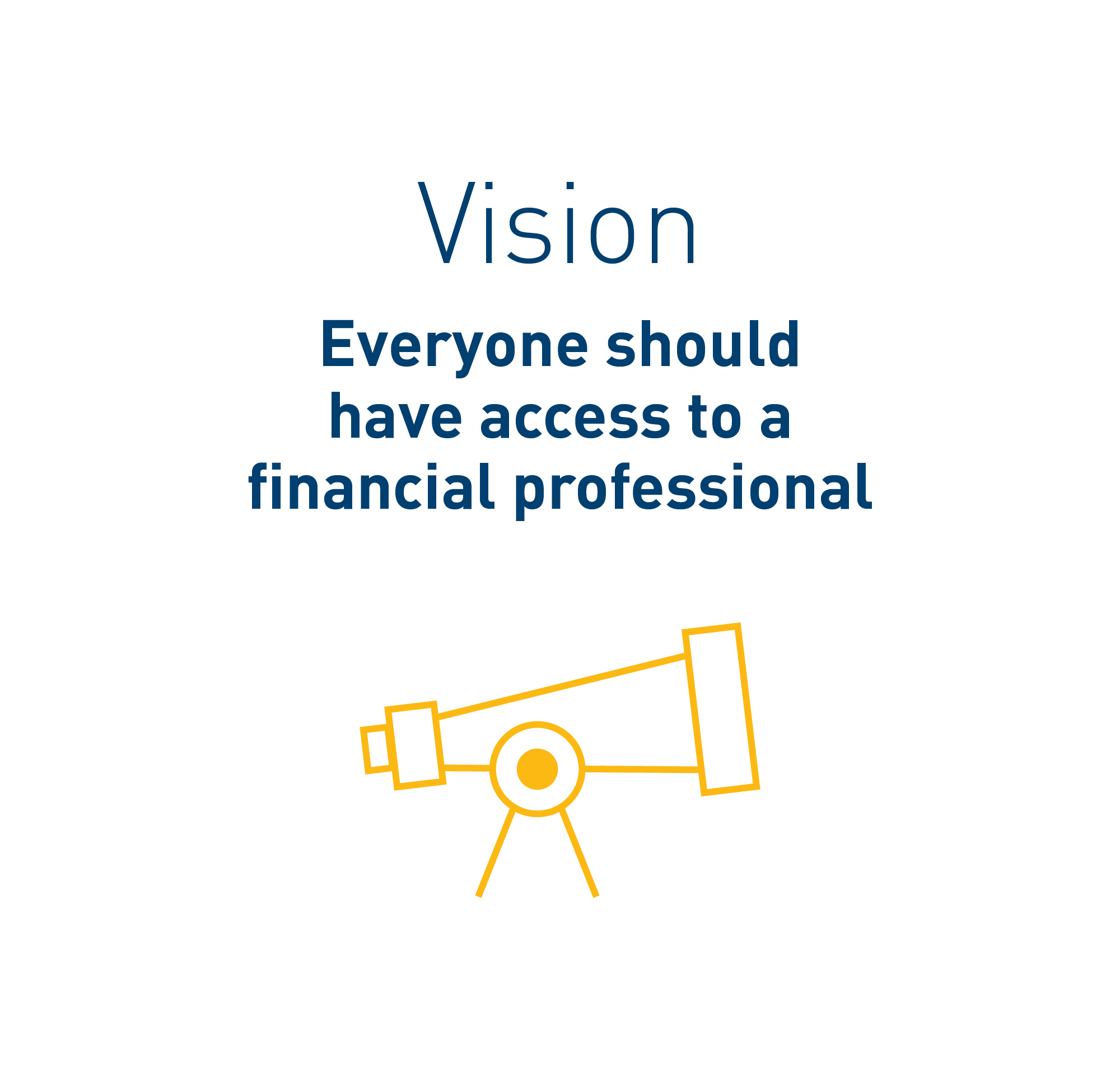 Text in image: Vision – everyone should have access to a financial professional.